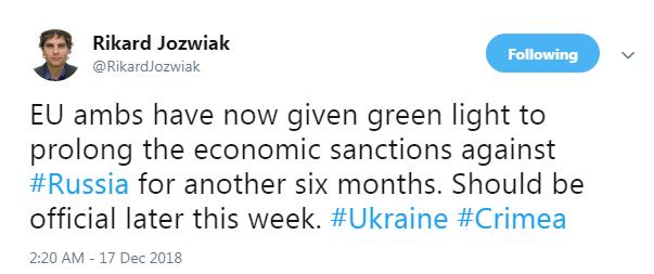 В ЕС решили на полгода продлить санкции против РФ